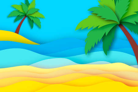 Seaside landscape in paper cut style. Nobody under the green palm trees on Seashore. Time to travel. Tropical beach. Summer holidays. Vector.