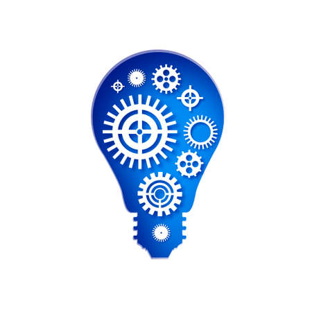 Bulb shape. Origami layered Electric bulb. Light bulb and cogs inside. Origami Electric bulb with gears and cogs working together. Business idea. Teamwork. Strategy. Cooperation. Blue.