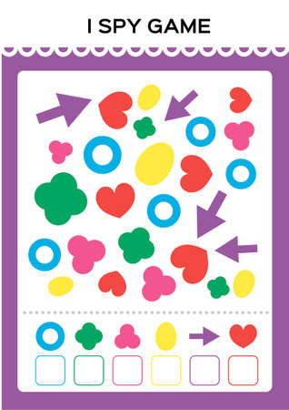 I spy game. Find and Count shapes for toddlers. Counting activity for kids. Educational for kids. Basic Geometrical shapes. Elementary math worksheet.