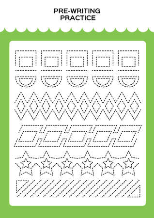 Tracing practice for kids. Pre-writing worksheet for little children. Prescool or kindergarten super handwriting practice. Fine motor skills. Lets trace dashed lines. Activity Game. Green.