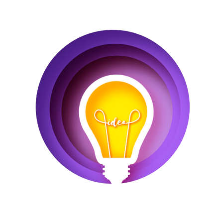 Light bulb in paper craft style. Origami Electric bulb. Bright yellow color for creativity, startup, brainstorming, business. Circle urple layered frame.