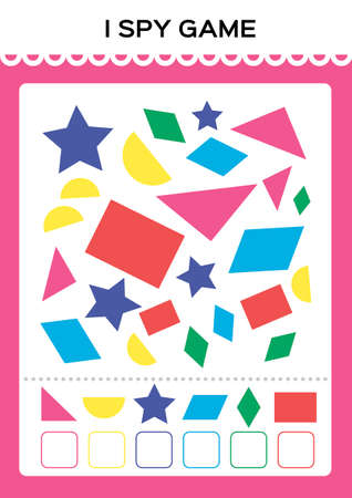 I spy game. Find and Count shapes for toddlers. Counting activity for kids. Educational for kids. Basic Geometrical shapes. Elementary math worksheet. Vektorové ilustrace
