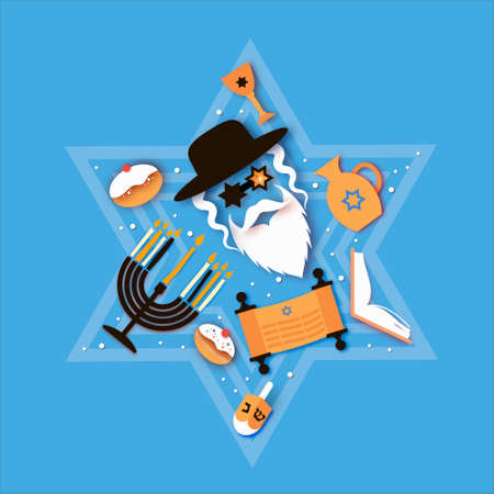 Happy Hanukkah. The Jewish Festival of Lights. Jew man character in david stars glasses. sweet traditional bake and golden lights. Space for text. Paper cut style. Ilustracja