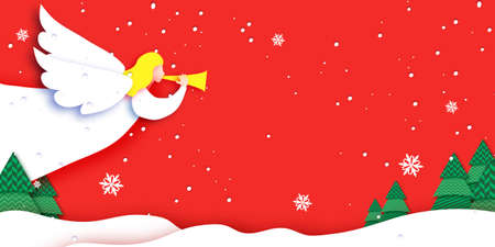 Merry Christmas Greetings Card with white Angels and beautiful winter landscape. Winter holidays. Happy New Year. Red background.