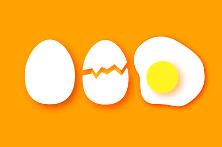 Eggs in shell, fried, half. Broken egg and yolk. Farm products. Fast food. Natural product. Omelet papercut style. Orange background.