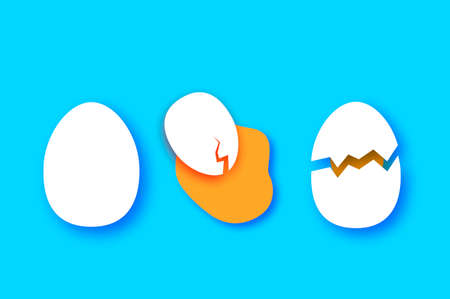 Eggs in shell, crack, half. Broken egg and yolk. Farm products. Fast food. Natural product. Omelet papercut style. Blue background.