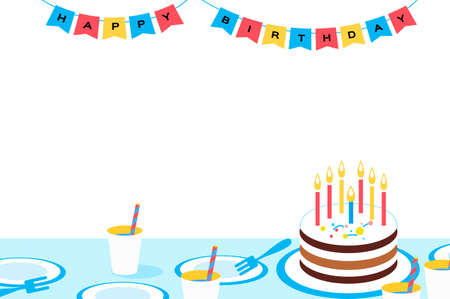 Happy Birthday to you. Birthday party. Nobody background. Sweet Cake and flags