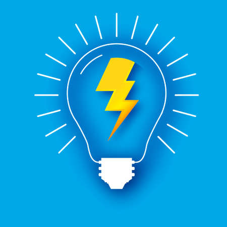 Lightning lamp. Light bulb in paper craft style. Origami Electric bulb for creativity, startup, brainstorming, business. Blue background.