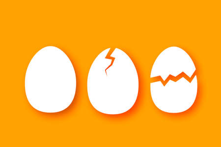 Eggs in shell, half, crack. Broken egg. Farm products. Fast food. Natural product. Orange background.