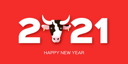 Happy Chinese New Year Banner Template. 2021 symbol bull, ox, cow. Chinese Zodiac. Lunar horoscope sign in paper cut style. Red background.