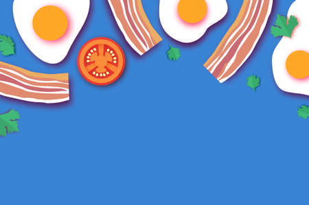 Bacon and Eggs, Tomato. Omelet papercut style. Farm products. Fast food. Natural product. Food ingredients. Slices of crisp bacon. Ham. Blue. Super breakfast