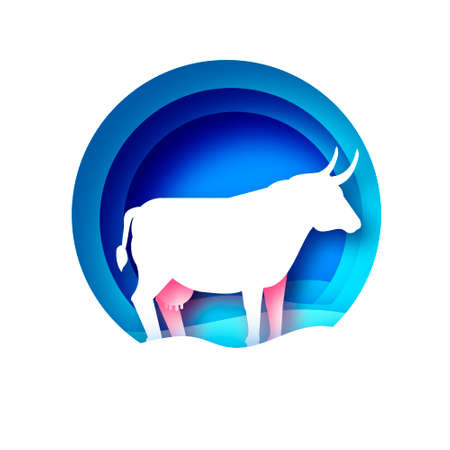 Cow symbol. Bull New Year. Happy New Year. Bull, ox, cow. 2021 Lunar horoscope sign in paper cut style. Blue. Winter holidays