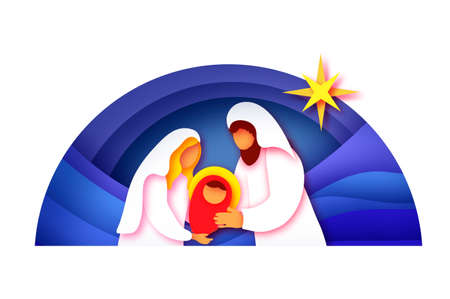 Baby Jesus Christ. Holy Child and Family. Mary and Joseph. Birth of Christ.Star of Bethlehem - East comet. Nativity Christmas in paper art style. Happy New Year. Circle frame. Blue.