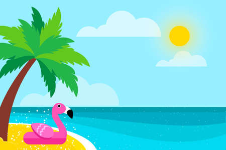 Giant inflatable Pink Flamingo on Seashore.. Float toy on the sunny beach with sand and crystal clear blue sea water. Summer holidays. Sunny days