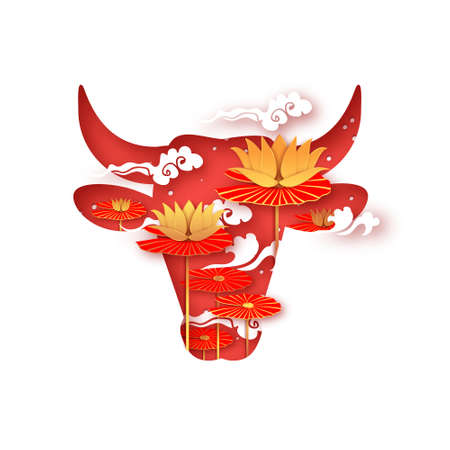 Bull New Year. Lotus Flower. Happy New Year. Bull, ox, cow. Lunar horoscope sign in paper cut style. Red and Gold. Winter holidays.