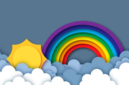 Sun and rainbow. Summer paper cut style. Sky cloud. Vetores