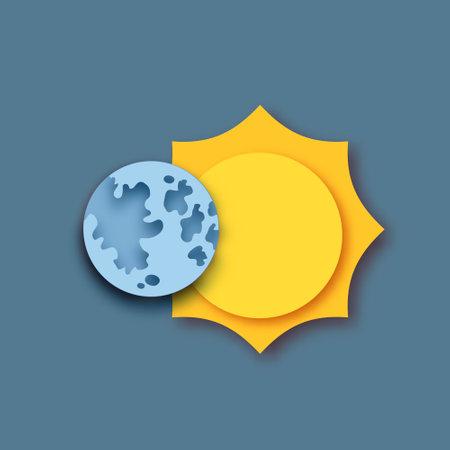 The Moon covering the Sun, Sun eclipse. Vector 向量圖像