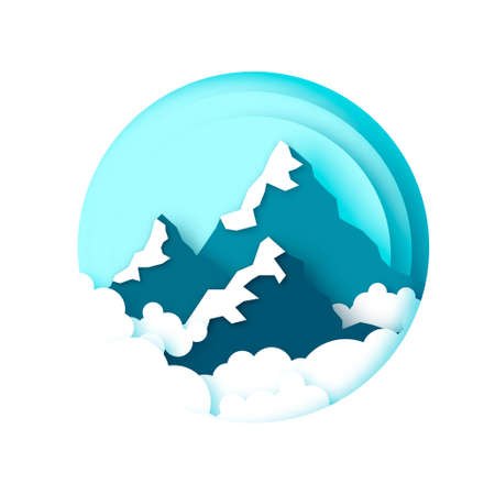 Snow Mountain Peaks. Landscape paper cut style. Sky and clouds. Circle frame.