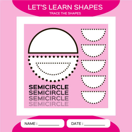 Semicircle. Basic geometric shapes. Elements for children. Learn Shapes. Handwriting practice. Trace and write. Educational children game. Kids activity printable sheet. Pink Background.
