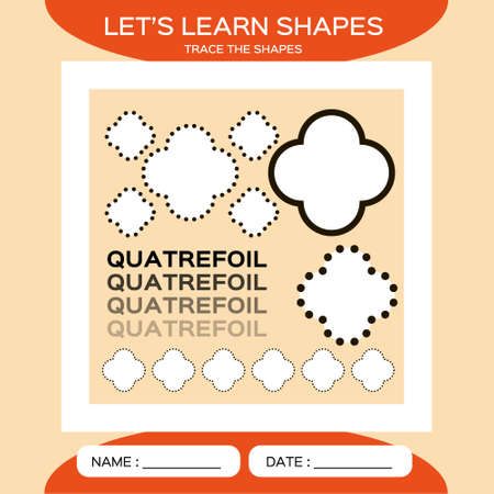 Quatrefoil. Basic geometric shapes. Elements for children. Learn Shapes. Handwriting practice. Trace and write. Educational children game. Kids activity printable sheet. Orange Background.