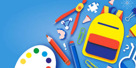 Welcome back to school. Concepts of education. Creative kids. Science, Art paper cut style.