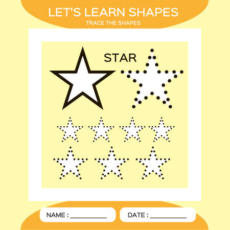 Star. Basic geometric shapes. Elements for children. Learn Shapes. Handwriting practice. Trace and write. Educational children game. Kids activity printable sheet. Yellow Background.