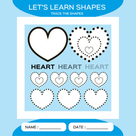 Heart. Basic geometric shapes. Elements for children. Learn Shapes. Handwriting practice. Trace and write. Educational children game. Kids activity printable sheet. Blue Background 矢量图像
