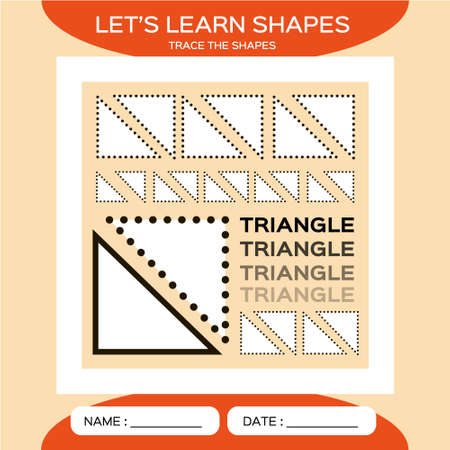 Triangle. Basic geometric shapes. Elements for children. Learn Shapes. Handwriting practice. Trace and write. Educational children game. Kids activity printable sheet. Orange Background. 矢量图像
