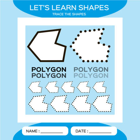 Polygon. Basic geometric shapes. Elements for children. Learn Shapes. Handwriting practice. Trace and write. Educational children game. Kids activity printable sheet. Blue Background 矢量图像