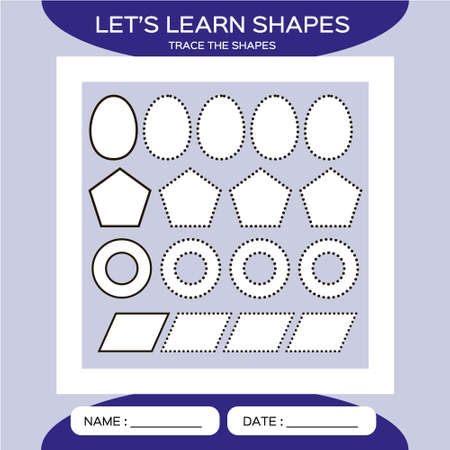 Oval, ring, parallelogram, pentagon. Basic geometric shapes for children. Learn Shapes. Handwriting practice. Trace and write. Educational children game. Kids activity printable sheet