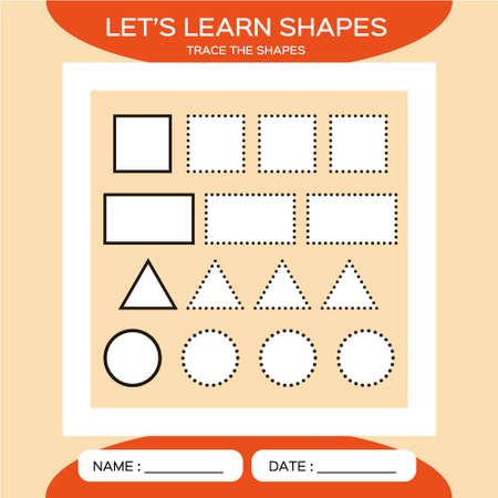 Square. Rectangle. Triangle. Circle. Basic geometric shapes for children. Learn Shapes. Handwriting practice. Trace and write. Educational children game. Kids activity printable sheet. Orange.