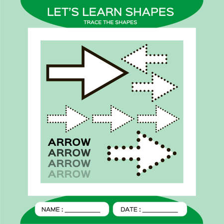 Arrow. Basic geometric shapes. Elements for children. Learn Shapes. Handwriting practice. Trace and write. Educational children game. Kids activity printable sheet. Green Background.