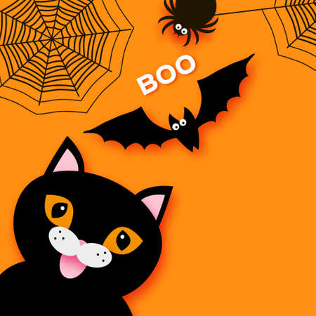 Happy Halloween design with Black cat, spider web and bat. Space for text.