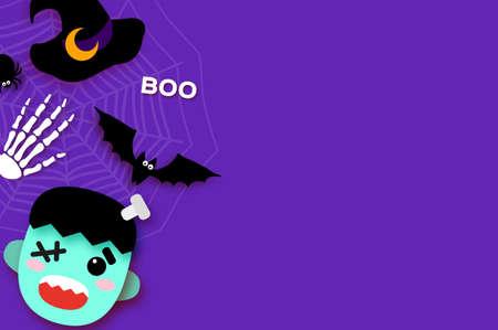 Happy Halloween. Monster Frankenstein. Trick or treat. Bat, spider, web, bones. Space for text Purple