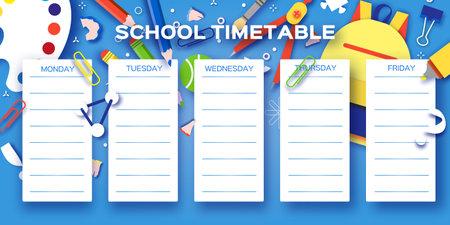 School Weekly Timetable. School Equipment on every day. Kids Schedule, Weekly Curriculum Template, School start, Schoolchild, 1 2 3 class, Blue