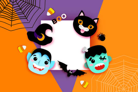 Happy Halloween theme design with Monsters, Dracula and Black cat. Funny spooky vampire. Trick or treat.  Square Space for text Orange 矢量图像
