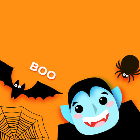 Happy Halloween. Monsters. Dracula - funny spooky vampire. Trick or treat. Bat, spider, web. Space for text. Boo. Orange. 矢量图像