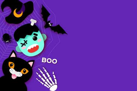 Happy Halloween. Monster Frankenstein. Black cat. Trick or treat. Bat, spider, web, bones. Space for text Purple.