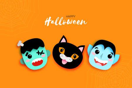 Happy Halloween. Monsters. Smile Dracula, Black cat, Frankenstein. Funny spooky vampire. Trick or treat. Space for text Orange