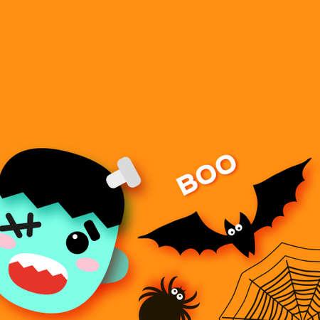 Happy Halloween. Monsters. Frankenstein. Trick or treat. Bat, spider, web. Space for text. Boo. Orange. 矢量图像