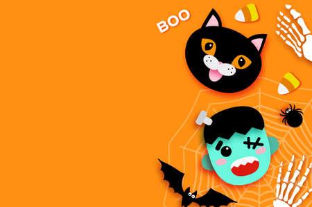 Happy Halloween. Monster Frankenstein. Black cat. Trick or treat. Bat, spider, web, candy, bones. Space for text Orange 矢量图像