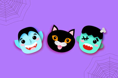 Happy Halloween. Monsters. Smile Dracula, Black cat, Frankenstein. Funny spooky vampire. Trick or treat. Space for text Purple