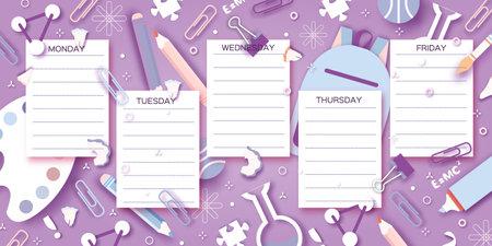 School Weekly Timetable. School Equipment on every day. Kids Schedule, Weekly Curriculum Template, School start, Schoolchild, 1 2 3 class, Purple