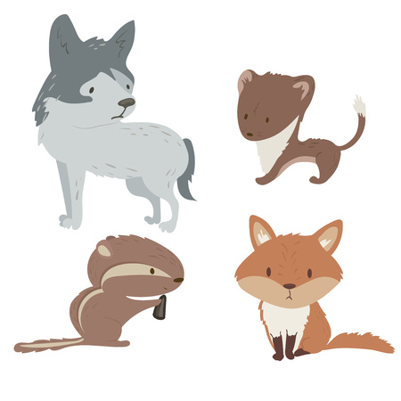 Forest animals vector set with isolated cartooning fox wolf stoat chipmunk. Illustration