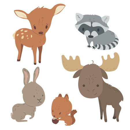 Forest animals vector set with isolated cartooning of deer, moose, raccoon, rabbit, squirrel. Vettoriali