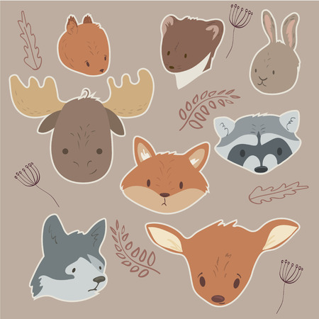Forest animals vector set with isolated cartooning of deer, moose, raccoon, rabbit, squirrel. Illustration