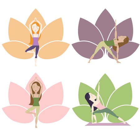Set of girls doing yoga poses on lotus background. Cartoon characters Vector illustration.