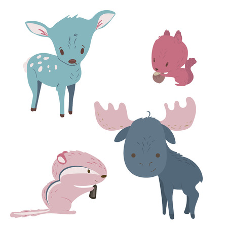 Forest animals vector set with isolated cartooning moose, deer, squirrel, chipmunk in pink and blue colors.
