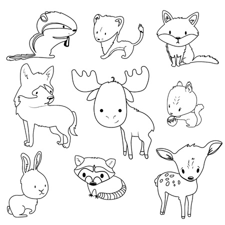 Forest animals outlines vector set with isolated cartooning deer, moose, raccoon, rabbit, squirrel, fox, wolf, chipmunk.