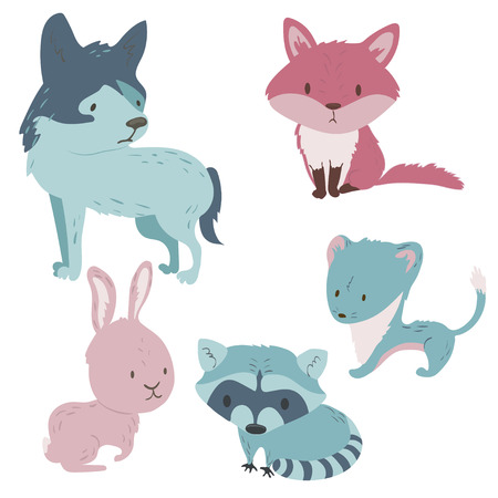 Forest animals vector set with isolated cartooning fox wolf stoat rabbit raccoon in pink blue colors Illustration